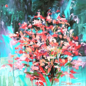 """""""Petals III"""" 2019 (457 x 457 mm; oil/acrylic/canvass) """"A moment, a bouquet, an occasion, an arrangement...oh the aroma...a gift."""" Not For Sale/Gift."""