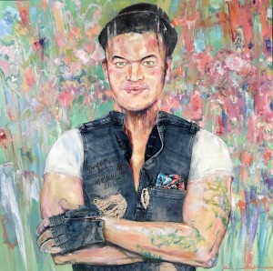 """""""Guy Sebastian - The Man, The Heart, The Beats"""" 2020; 910 x 910 x 40 mm wood panel/oils/charcoal/mixed-media (thank you Guy for donating your Signed Jeans! And Thank You to Pete Kenny of FramingLife Gladesville Boronia Park for his generosity in framing this piece in contribution) collage charity auction piece signed & ready for framing - Online Charity Auction (instead of the usual annual Gala Denim Dinner) hosted by ABC presenter James Valentine on 20th June 2020 Saturday 6-9pm AEST Sydney to raise needed funds for sick children's medical research at the CMRI Children's Medical Research Institute - Zenart & Kenneth W H Lee are proud to be associated with this charity second year running (having raised $4,000+ to-date)."""