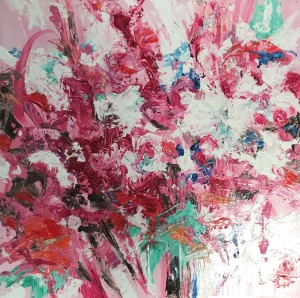 """""""Allegra I"""" 2019 oils/gesso board; 305 x 305 mm; """"An abstaction of a floral arrangement awashed in sunlight."""" (Price $450)"""