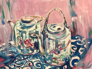 """Two Funky Teapots"" 2019 oils/gesso board; 305 x 406 mm - (Price $650)"