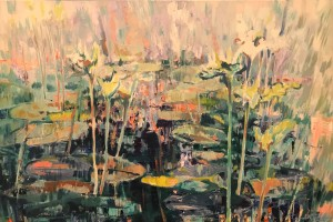 """""""Reflections I"""" (610 x 915 mm; oils/canvass): """"An abstraction of waterlilies in a small pond, partly in shade and under the bright morning light. In the hurry from point to point of our daily life, once in a while pause and gaze into that pond and its reflection gazing back at you…"""" 2019 (Price $3,300)"""