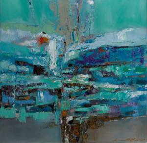 """""""Convergence II""""; oils/canvass; 609 x 609 mm; """"An inspired abstract landscape capturing a melancholic mood of the coolness of a meandering estuary carving through the landscape; while dramatic in movement, there is a lovely quality about its stillness."""" 2019 (Price $2,500)"""