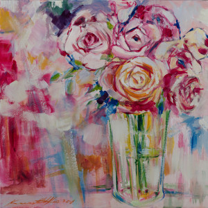 """""""Petals II"""" 2018; acrylics/canvass; 457 x 457 mm - (Price $1,000)"""