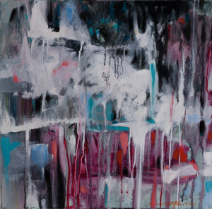 """""""Convergence I"""" 2018; acrylics/oils/canvass; 457 x 457 mm - (Price $1,100)"""