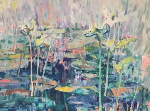 """""""Reflections I"""" oils/canvass; 2019; 610 x 915 mm part of 1st SOLO 2019 Sydney (Price $3,200) Artist Statement: """"An abstraction of waterlilies in a small pond, partly in shade and under the bright morning light. In the hurry from point to point of our daily life, once in a while pause and gaze into that pond and its reflection gazing back at you…"""" - click to enlarge"""