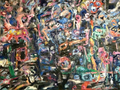 """""""My Insanity"""" Oils/Canvass; 770 x 1020 mm; 2019. """"The randomness and scattiness of thoughts represented by both dark and bight hues, and forms, in a seemingly unstructured manner - our surrounds; chaotic in nature though somehow a sense of congruency and harmony prevails – just a state of mind. (Price $3,900)"""