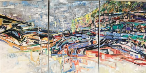 """""""Billabong Dreaming III"""" (triptych) Oil on canvass 1800 x 900 x 35 mm; """"An inspired piece of the Australian landscape; the coolness of a billabong nestled among rugged terrain. """" 2019 (Price $4,900)"""