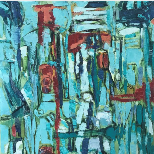 """""""A play of hues and form; where in its delicate imbalance, there is harmony in its form, colour and textures folding within its multi-layers; almost describing life itself where we find harmony, or try to, while in constant flux and chaos."""" """"With Some Clarity"""" 2019 (16 x 16; 405 x 405 mm; Oils/Acrylics/Charcoal/Pastels on Canvass) Price $650"""
