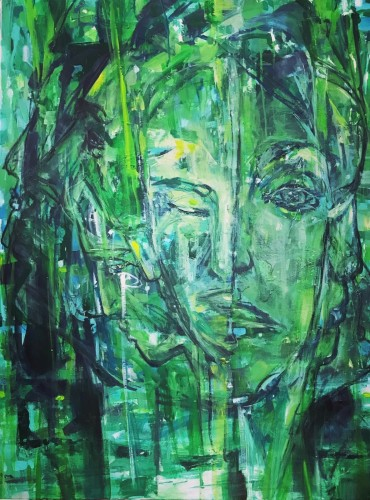 """""""Journey Faces II"""" 710 x 1016 mm acrylics/charcoal; re-do of previous piece - power of change; an intense yet peaceful piece. Sold $2,800"""