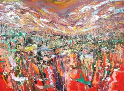 """Crimson Horizon; Inner Peace"" 2019 760 x 1100 mm Oils (Price $5,500)"