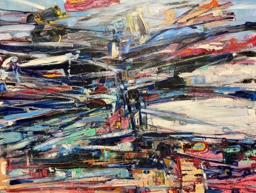 """""""Crossroads - When Energies Collide"""" 2019 Oils/Charcoal/Canvass 900 x 1200 mm (Price $3,200)"""