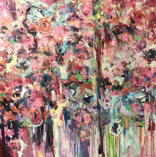 """""""Sydney Spring - Gratitude Series II"""" 1200 x 1200 mm; oils/acrylics/charcoal/pastels/canvass); 2020 (Price $7,500) - click to enlarge"""