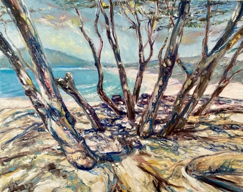 """""""Picnic by One Mile Beach, Forster (A Walk With Carol and Andrew)"""" Kenneth W H Lee 410x510mm; oils/canvass"""
