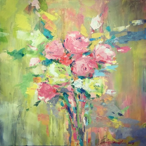 """""""Regal Roses II"""" 470 x 470 mm; oils/canvass; Gift 2019; I initially painted this as a gift to the then President of the Court of Appellate NSW (the first woman to hold that office) and now this painting resides at the Governor's Home as Her Excellency the Honourable Margaret Beazley was bestowed as 39th Governor of NSW – click to enlarge"""