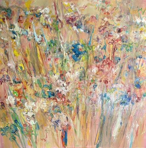"""""""Meadows Beyond Us"""". work in progress 1200 x 1200 mm oils/acrylics/charcoal/pastels/lead on wooden panel; 2020....""""and you close your eyes the image still visible, the imagery burnt unto the brain's eye of this gorgeous view of nature quietly pulling you towards it..."""" (Price $7,500) - click to enlarge"""