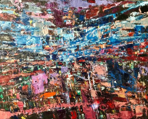 """""""Dusk; In Your Absence"""" 355 x 406 x 35 mm Oil & acrylic on canvass; Price $1,125"""