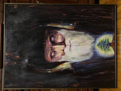 """""""St Charbel, The Saint - Peace & Love, Lebanon Forever"""" 2020; acrylic, canvass; framed; 600 x 800 mm ; commissioned for charity fundraising."""