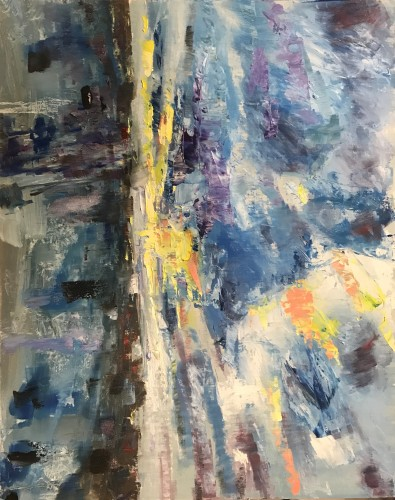"""""""Sunset Today; A Billion More"""" Oils/Gesso board; 355 x 406 mm; 2019 (Price $900) - click to enlarge"""