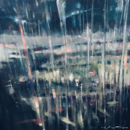 """""""Wintery Lavender Bay I""""; Oils/Canvass; 910 x 910 mm; 2019; """"Moody. Reflective. Contemplative. Solitary Time. Rethink. Re-Energise. Melancholy. Breathe. My Balcony View during my time at Milson's Point."""" (Price $2,900)"""